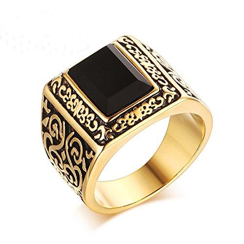 Mens koreanische Version Titan Stahl Achat Casting Gold Ringe, Größe - Gold Casting