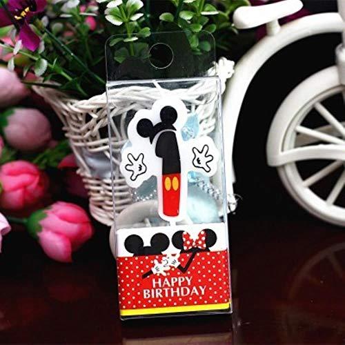 MOMO Vela de cumpleaños Vela de Mickey Minnie Mouse 0-9 Aniversario Pastel Números Edad Vela Suministros de Fiesta Decoración, Mickey 1