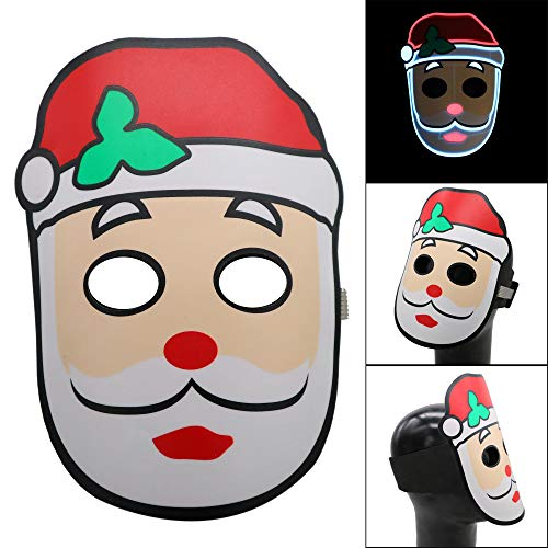 Halloween Dekoration LCLrute 2018 mask Dolls Christmas Version LED Sound Reactive LED Mask Music Light Up Adjustable Mask Toy (B)