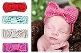 Tukistore 4 pezzi Baby Girl lavorato a maglia fascia dell'arco dell'uncinetto disegno inverno fascia dei capelli della fascia scaldino dell'orecchio Headwrap per bambino appena nato