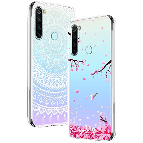 Yoowei [2-Pack] Funda para Xiaomi Redmi Note 8, Transparente con Dibujos Ultra Fino Suave TPU Silicona Protector Carcasa para Xiaomi Redmi Note 8 (Flores de Cerezo, Mandala Blanca)