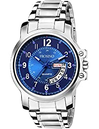 Frosino Mens Quartz Watch, Business Casual Fashion Analog Wrist Watch Classic Calendar Date Window, Waterproof Comfortable Stainless Steel Strap Blue Watch for Men - FRAC101822 (Blue)