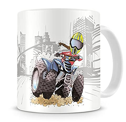 KOOLART Cartoon Caricature of Quads Quad Bike With Rider -