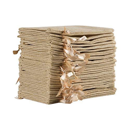 Jutesäckchen Jute Beutel 10 x 15 cm Säcke für Adventskalender Schmuck Gastgeschenke und DIY Handwerk, Jutebeutel, Stoffbeutel zum Befüllen - Weihnachten (Beige) ()