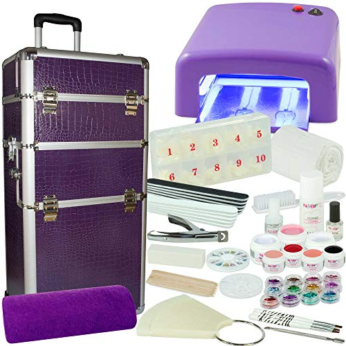 Kosmetiktrolley XXXL Starter Set Purple Dreams-Nagelset mit Nailart, UV-Lampe und UV Gel ideales Starterset