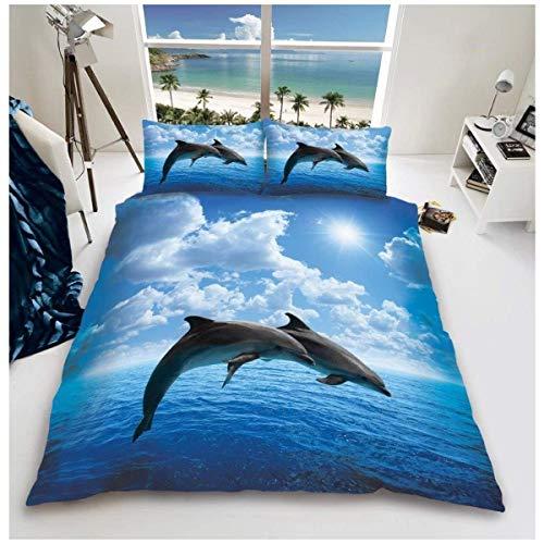 CXDM Bettbezug Und Kissenbezug, 3D Wildlife Dolphin Bett Set Mit Bettwäsche Polyester-Baumwolle, Multi, Double,King -