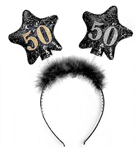 1 Stück LOLLIPOP® '50th Birthday' Haarreifen / Kopfband, schwarz (Mütter Verkauf Tag)