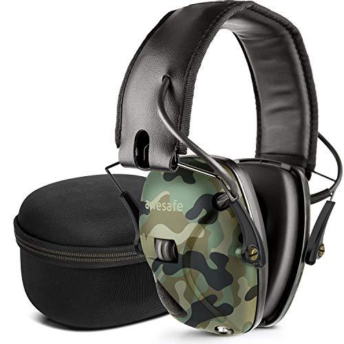 awesafe Elektronischer Schieß-Ohrenschützer mit Hard Travel Aufbewahrungstasche, GF01+ Lärmminderung Klangverstärkung Elektronischer Gehörschutz, Gehörschutz, NRR 22 dB, Ideal zum Schießen und Jagen