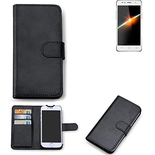 K-S-Trade 360° Wallet Case Siswoo C50 Longbow Schutz Hülle Smartphone Flip Cover Flipstyle Tasche Schutzhülle Flipcover Slim Bookstyle Walletcase schwarz, 1x