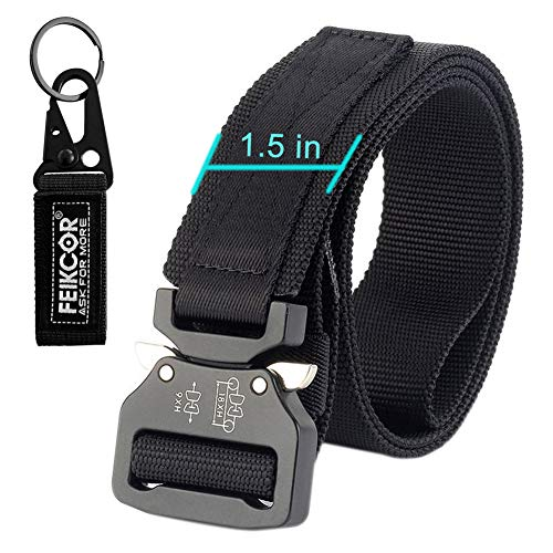 military tactical belt nylon belt strap with heavy duty buckle, available in a variety of styles, optional elastic Loop-hold tension in place (018-Black)