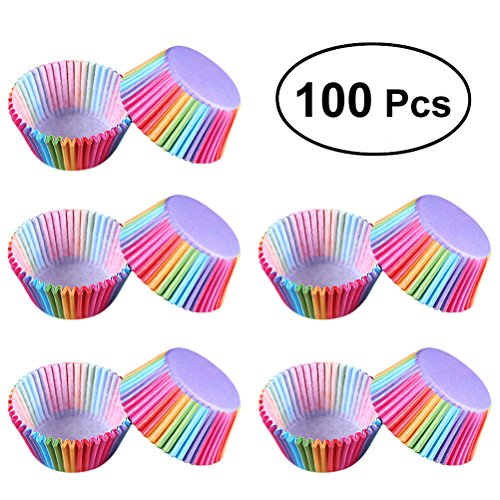 BESTONZON Cupcake Papier Liner Kuchenverpackungen Inhaber Muffin Fällen Dekor für Party (Regenbogen Farbe Wrap) 100 Stück