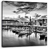 Monocrome, Hamburger Hafen am Abend, Format: 40x40 auf Leinwand, XXL riesige Bilder fertig gerahmt mit Keilrahmen, Kunstdruck auf Wandbild mit Rahmen, günstiger als Gemälde oder Ölbild, kein Poster oder Plakat