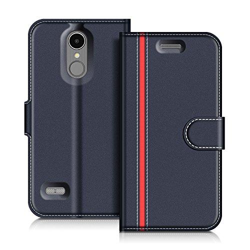 COODIO Handyhülle für LG K8 2017 Handy Hülle, LG K8 2017 Hülle Leder Handytasche für LG K8 2017 Klapphülle Tasche, Dunkel Blau/Rot