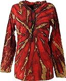 Guru-Shop Batik Shirt, Goa Tie Dye Langarmshirt, Herren, Rot, Baumwolle, Size:XXL, Sweatshirts & Hoodies Alternative Bekleidung