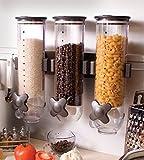 Müslispender Cerealienspender Unentbehrlich Dispenser Müslibehälter aus Kunststoff Wandmontage mit drei
