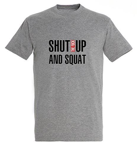 Shut The Fuck Up And Squat Fitness Workout Motivation Men Herren Grey Melange T-shirt