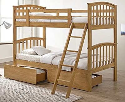 Barbican Oak Hardwood Bunk Bed and Storage Drawers