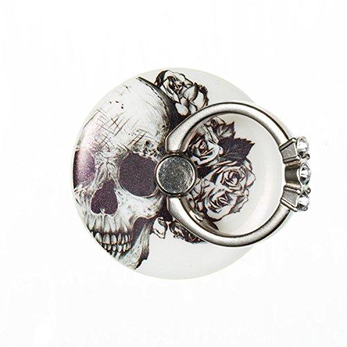 Uposao Bunt Runde Strasssteine Diamond Ring Finger-Halterung Smartphone Halter für die Hand. Handy-Ring für verbesserte Einhandbedienung – Schädel Blume (Gardinenstange Schädel)
