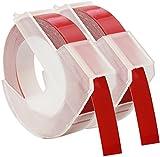 2 Prägebänder 3D 9 mm x 3 m Weiss auf Rot S0898150 kompatibel für Dymo Omega und Junior Etikettenprägegerät für den Heimbedarf | Kunststoff, Selbstklebend