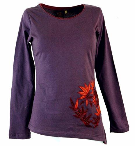 Guru-Shop Langarmshirt Boho-Chic, Besticktes Zipfelshirt, Damen, Baumwolle, Pullover, Longsleeves & Sweatshirts Alternative Bekleidung Plum