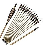 Toparchery Holzpfeile 6 Pfeile für Bogen mit Feldspitzen und 5 Zoll Shield Naturfedern Pfeile für Bogenschießen in Handarbeit
