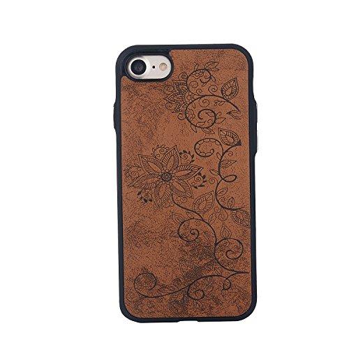 EKINHUI Case Cover Rattan-Blumen-geprägte Muster-Plastik PC-harte rückseitige Abdeckung Schlankes, Anti-Kratzer-stoßfestes Ganzkörper-schützender Stoßkasten für IPhone 7 ( Color : Rose Gold ) Brown