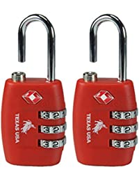 Texas Usa Pack Of 2 Metal Red Luggage Lock