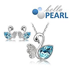 Bella Pearl Designer Swan Crystal Pendent and Earrings Necklace with Best Offer For Girls and Womens.