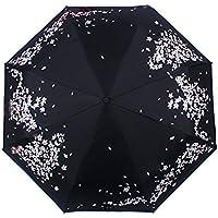 QHGstore Manuale Aperto vicino nero del rivestimento 3 Fold solare protettiva Cherry Soleggiato Ombrello