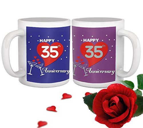 TIED RIBBONS 35th Wedding for Parents Father Mother Brother Sister Friend Collegue Relatives Set of 2 Printed Coffee Mugs with Rose(325ml Each,Blue,Purple)