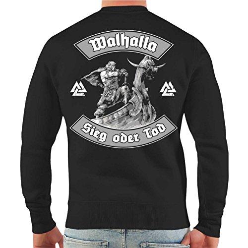 Männer und Herren Pullover Walhalla Sieg oder Tod (mit Rückendruck) Größe S - 10XL Schwarz