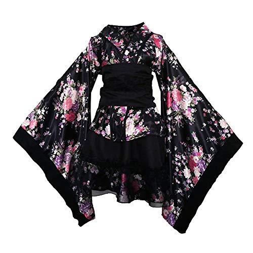 Vokaer Japanisches traditionelles Dienstmädchen Kleid Kimono Cosplay Outfit Dienstmädchen Anzug Halloween (Traditionelle Kostüme Kimono)