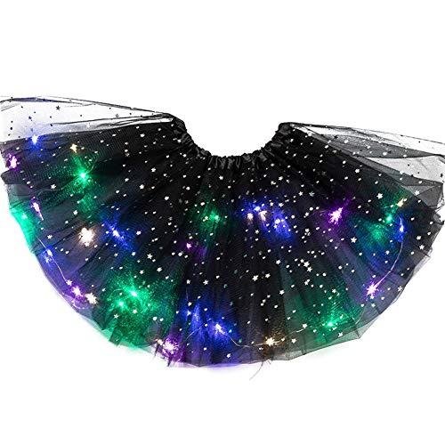Watkings gonna da ballo a led,gonna corta in tulle magia leggera da principessa gonna da ballo da ballo a led sequin sparkling dancewear fairy dress per la fase della festa di natale (lunghezza~ 28cm)
