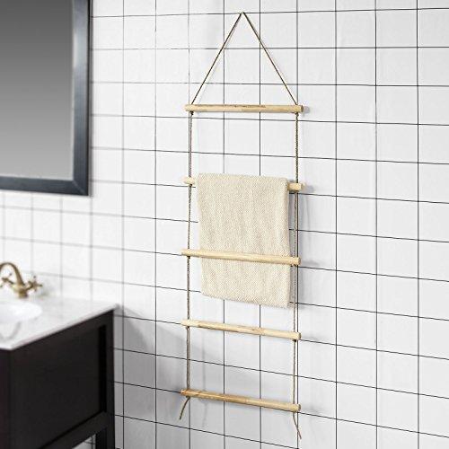 SoBuy® FRG217-N Porte-serviettes en échelle de corde Support à serviettes mural salle de bain douche cuisine - 5 barres
