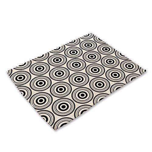 NoblePlacemat Einfacher Stil Tischsets,Geometrische abstrakte schwarz-weiß gestreiften Muster...