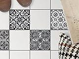 creatisto Fliesendeko, Badezimmer-Fußboden-Fliesen | Fliesentattoo Küche Bad Fliesenmotiv Badezimmerdeko | 15x15 cm Muster Ornament Black n White - 4 Stück