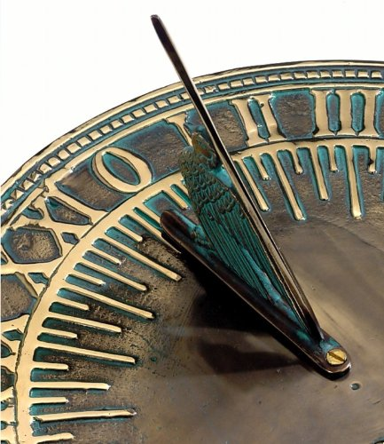 Solid Brass 'Old Father Time' Sundial Antique Verdigris Finish - 450mm / 18