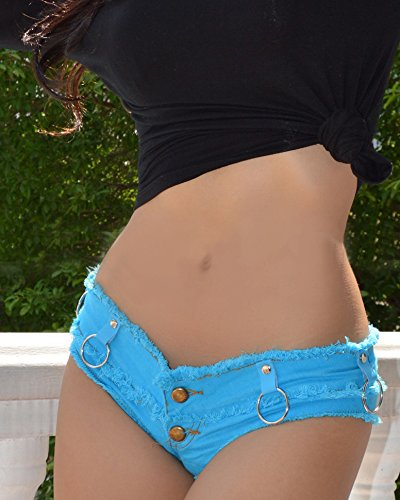 Chenyuying Frauen Sommer Cowgirl Shorts Ultra Short Low Waist Jeans Hot Pants Nachtclub hängenden Ring (Color : Blue, Size : (Hot Sexy Cowgirl Kostüm)
