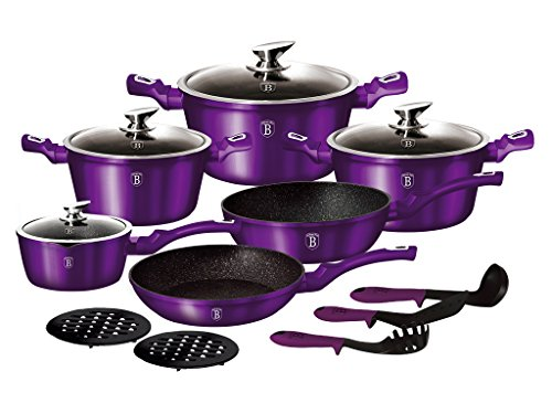 Berlinger Haus 15 pcs Kochgeschirr-Set, Metallic Line royal purple Edition, bh-1662 N