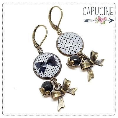 Boucles d'oreilles pendantes avec cabochons noeud et pois - boucles d'oreilles dormeuses bronze - nœud et pois