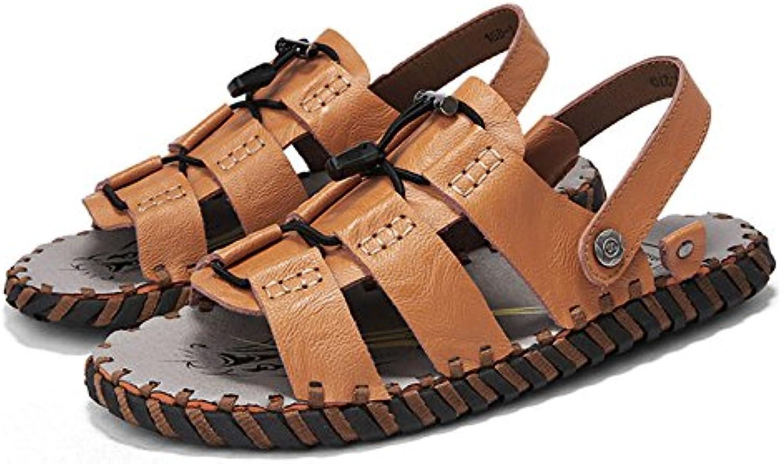 Männer Sandalen Aus Echtem Leder Offene Zehe Hausschuhe Dual Use Freizeit Rutschfeste Herrenschuhe Slip Auf Hausschuhe
