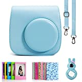 Fujifilm Instax Mini 8 Instant Camera Accessory Bundles Set (Included: Blue Mini 8 Vintage Case Bag/ Blue Rabbit Design Mini 8 Close-Up Lens(Self-Portrait Mirror)/ 3 Inch Photo Frame/ Colorful Decor Sticker Borders)