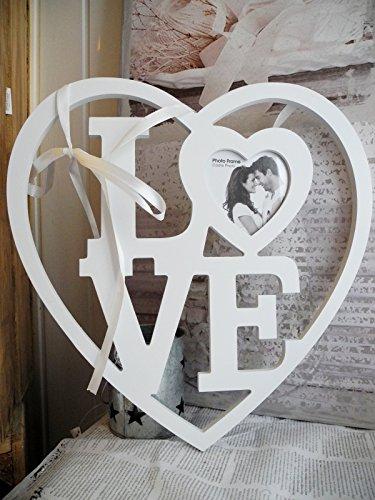 33cm Corazón Love-Marco Fotos Color Blanco
