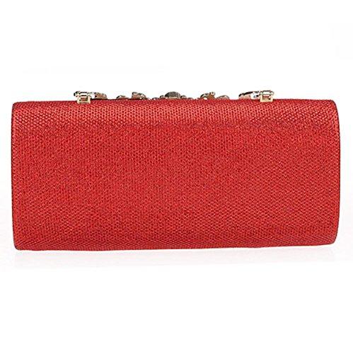 damen abendtasche strass handtasche blume stickerei bankett party hochzeit kupplung geldbörse. 22 x 11 x5cm red