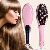 UNIQUE VATIKA Fast Hair Straightener Straightening Comb Brush With Temperature Nano 3 In 1 Straightening LCD Screen With Temperature Control Display (Pink)