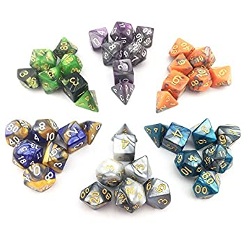 Smartdealspro 6 X 7 Sets(42 Pieces) New Arrival Two Colors Polyhedral Dice With Free Pouches For Dungeons & Dragons Dnd Rpg Mtg Table Games D4 D8 D10 D12 D20 (6-colors Set 2) 1