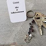 Schlüsselanhänger, Taschenbaumler, Kettenschmeichler, Edelstein Granat, Tatting, Occhi