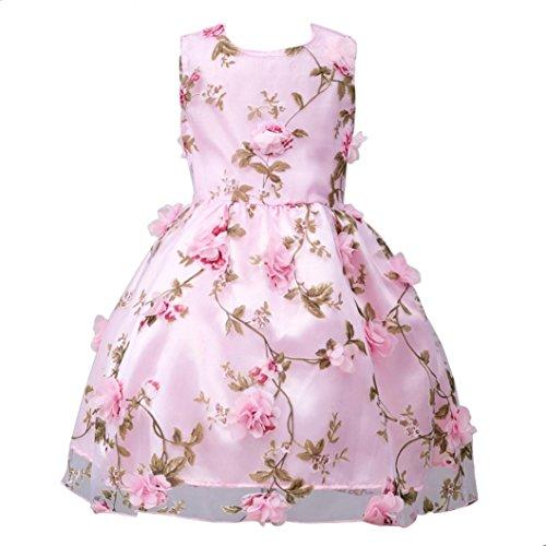 ?Amlaiworld Mädchen Blumen drucken Party Kleider Baby Sommer Seidenblume Dekoration Kleid Ärmellos Geburtstag Hochzeit Mode Kleidung Schön Geschenke Für Kinder, 5-10 Jahren (7 Jahren, A - Rosa)