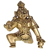 Kapasi Handicrafts Bal Krishna Brass Idol (2.5 X 2.5 X 3 Inches)