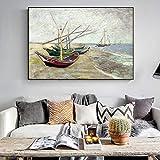 Wieoc Fischerboote Am Strand Wandkunst Leinwand Malerei Impressionist Berühmte Leinwand Kunstdrucke Wohnkultur 60X90 cm
